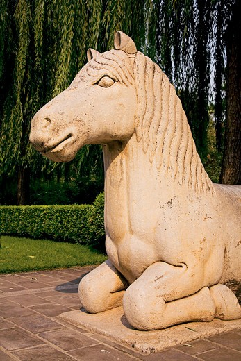 Stock Photo: 4028-2497 China, Beijing, Ming Dynasty Tomb, Spirit Way, A stone statue of an ancient horse along the avenue.