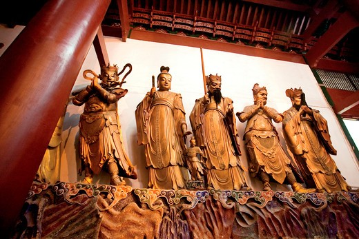 Stock Photo: 4028-2568 China, Hangzhou, Lingying Buddhist Temple, Large metal statues of various Chinese gods.
