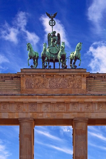 Berlin, Germany, Close-up of the Quadriga and columns of the Brandenburg Gate (Brandenburger Tor) : Stock Photo