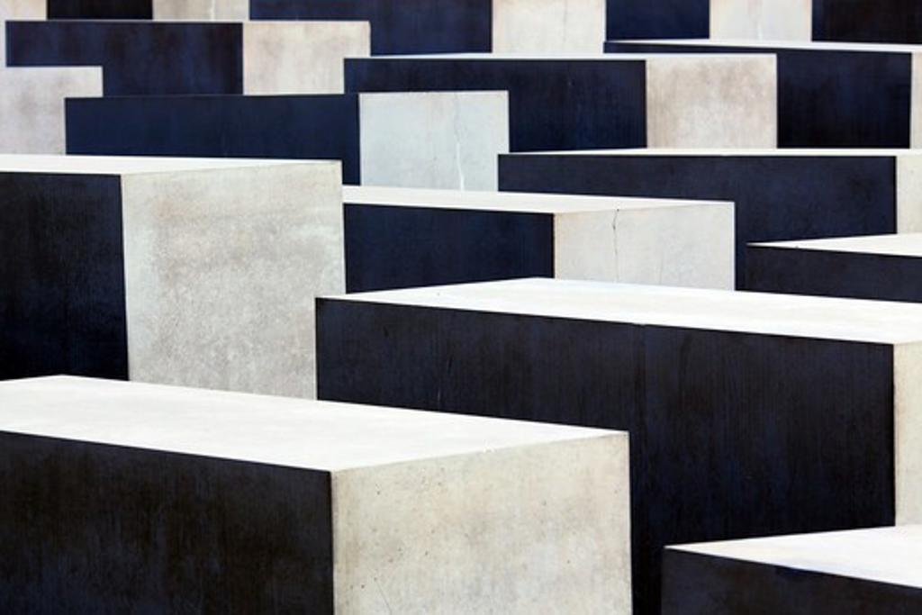 Berlin, Germany, Europe, Holocaust Memorial, Memorial to the Murdered Jews of Europe designed by Peter Eisenman near Tiergarten in Mitte : Stock Photo