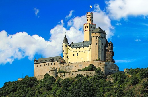Germany, Castle Marksburg near Braubach, Germany, on the Rhine River, River cruise, Marksburg Castle : Stock Photo