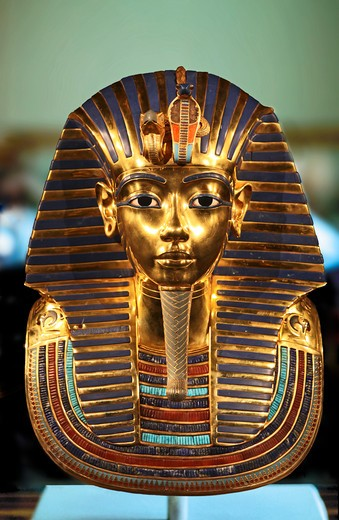 Stock Photo: 4028-2957 Cairo, Egypt, Egyptian Antiquities Museum, Golden death mask of Tutankhamen (King Tut)