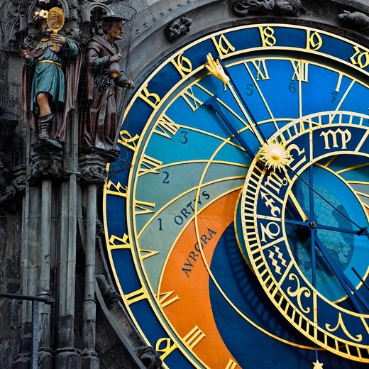 Stock Photo: 4028-3045 Czech Republic, 16th Century Astronomical Clock, Old Town Hall in Prague