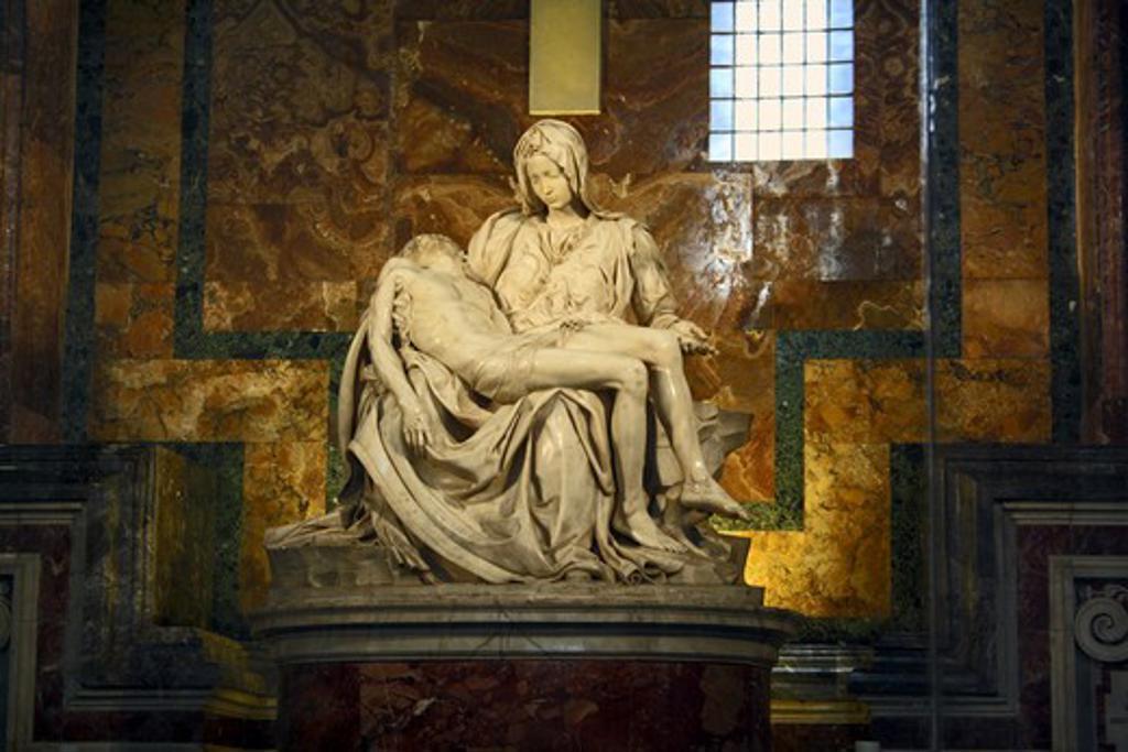 Stock Photo: 4028-3089 Michelangelo's Pieta, St Peter's Basilica, Rome, Italy, Vatican City, Europe