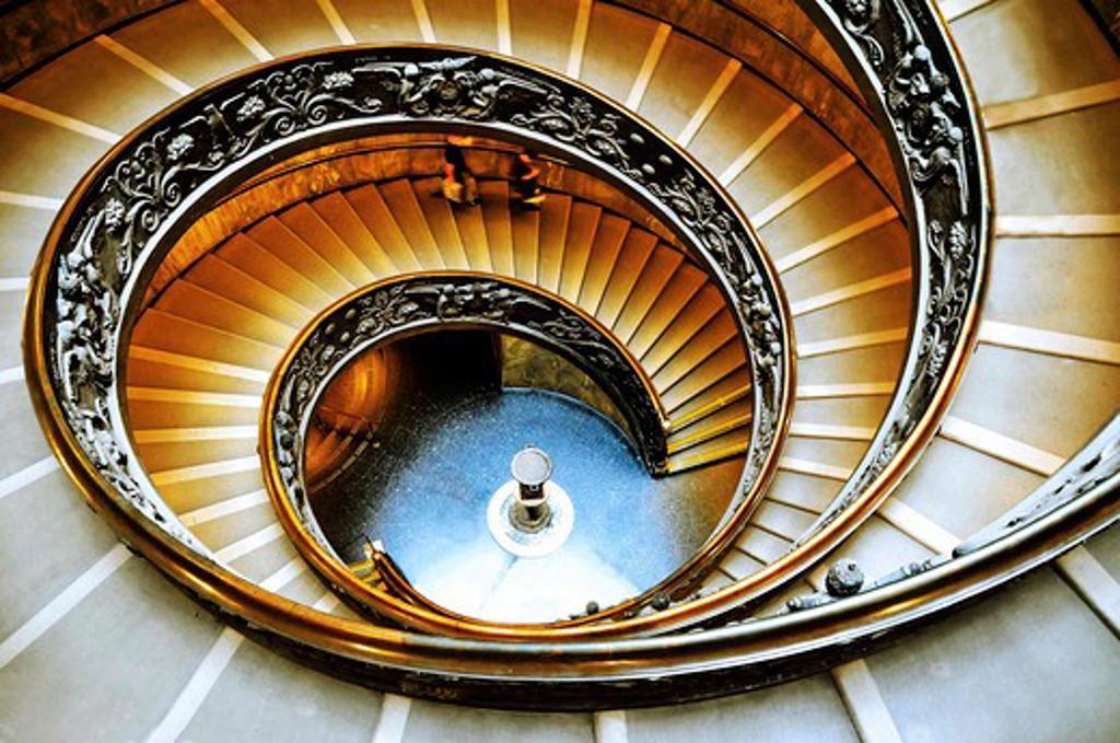 Stock Photo: 4028-3110 Italy, Lazio, Rome, Vatican, Vatican Museum spiral staircase, Vatican City