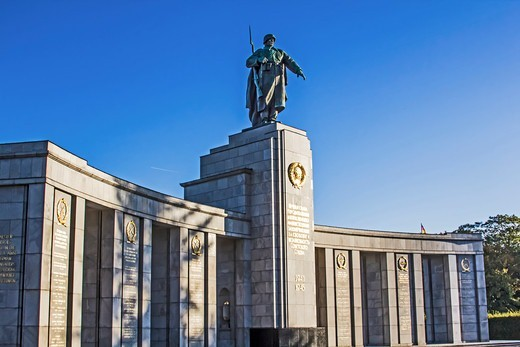 Stock Photo: 4028-3236 Berlin, Germany, Soviet War Memorial for fallen Russian and Soviet Union soldiers of the Second World War, Strasse des 17. Juni street in the Tiergarten Park