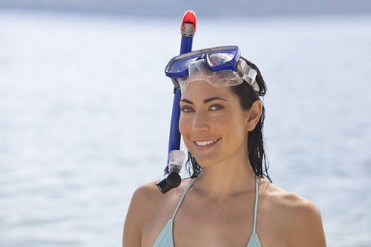 Stock Photo: 4029R-103805 A woman snorkeling