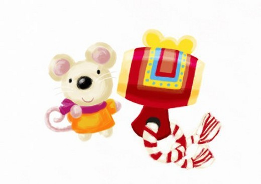 Mouse s Japanese New Year : Stock Photo