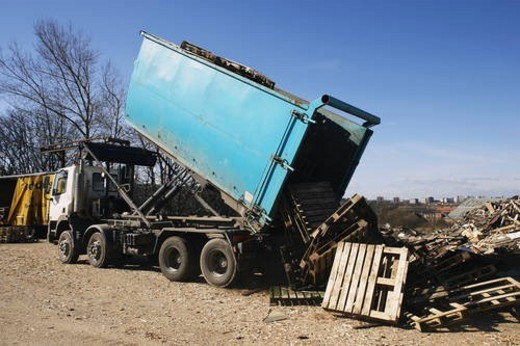 Recycling plant. Construction waste being segregated for better recycling. : Stock Photo