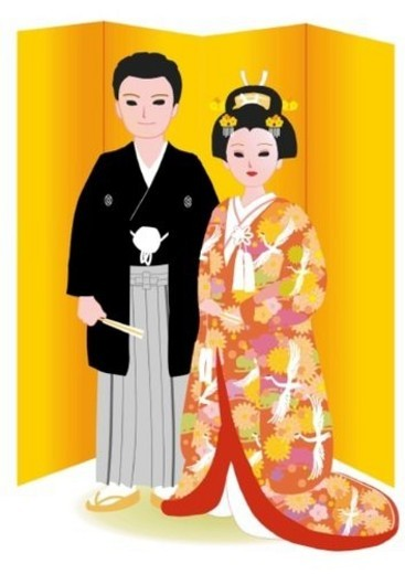 Bridal couple standing side by side in Japanese style clothing in front of gilded folding screen, front view, Japan : Stock Photo