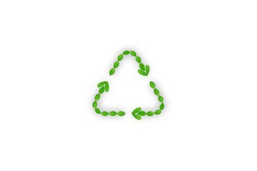 Leaves making recycling symbol, computer graphic, white background : Stock Photo