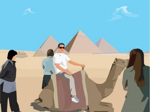 Tourists with camel in desert and Giza Pyramid in background , Cairo Egypt : Stock Photo