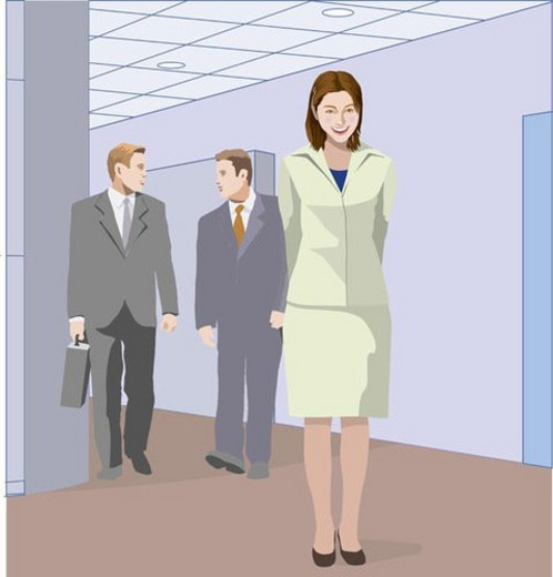 Stock Photo: 4029R-11199 Two Businessmen and a businesswoman walking in the hallway, Illustrative Technique