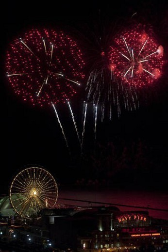 Stock Photo: 4029R-113015 Chicago, Navy Pier, Fireworks