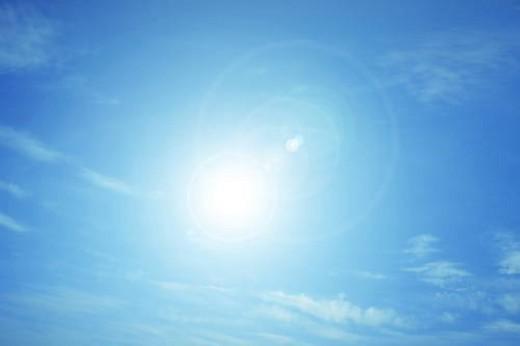 Sun shining in blue sky, Osaka, Japan : Stock Photo