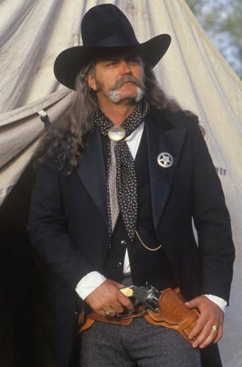 Living History participant posing as US Marshall : Stock Photo