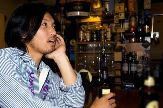 The Japanese Man Who Drinks Alcohol : Stock Photo