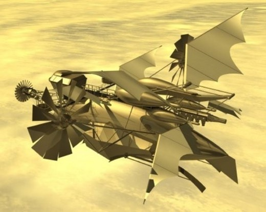 Aircraft, Illustration, CG, 3D, Sepia, High Angle View : Stock Photo
