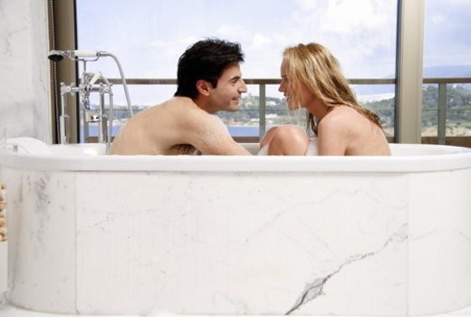 Stock Photo: 4029R-115447 Couple enjoying bubble bath together