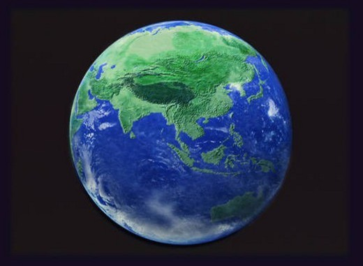Stock Photo: 4029R-116399 The earth, computer graphic, black background