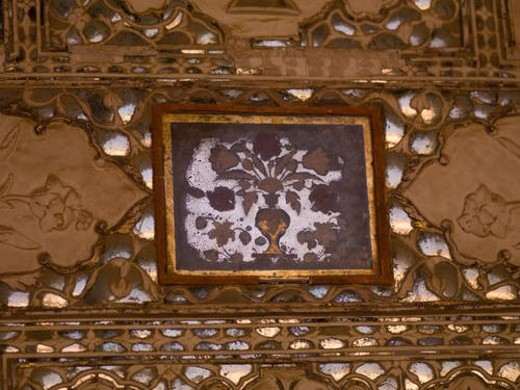 Interior wall in Amber Fort, Jaipur, India : Stock Photo
