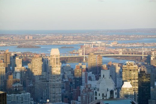 Panoramic views of New York City at sunset : Stock Photo