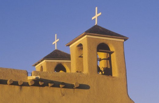 Mission or pueblo at sunset : Stock Photo