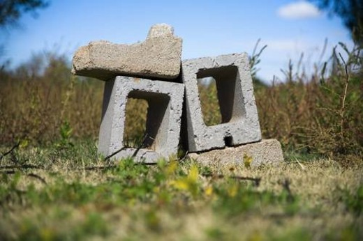 Cinder blocks in a pile : Stock Photo