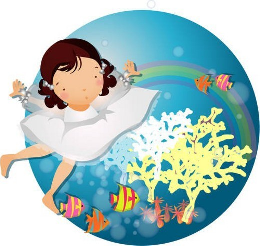 bubbles, sea, bottom, fish, undersea, girl : Stock Photo