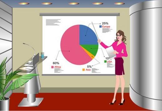 Woman explaining thru diagram. : Stock Photo