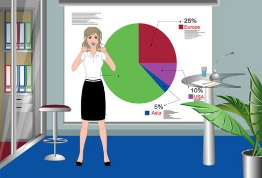 Stock Photo: 4029R-121316 Woman explaining thru diagram.