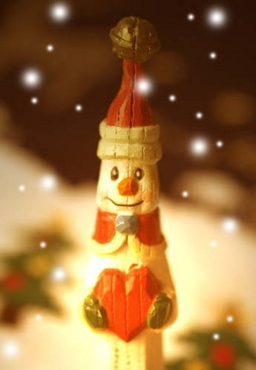 Wooden snowman : Stock Photo