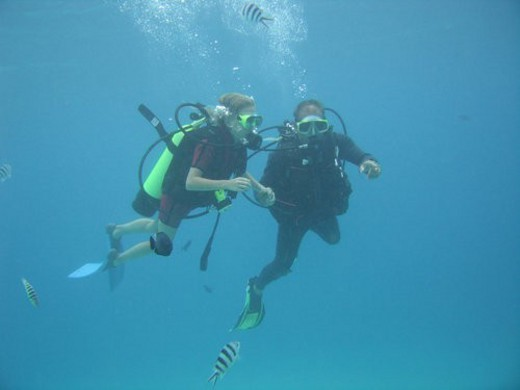Stock Photo: 4029R-122587 Underwater view of a young couple scuba diving, Moorea, Tahiti, French Polynesia, South Pacific