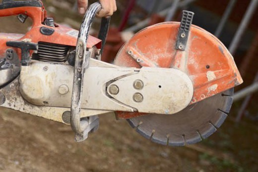 Close up of a petrol cutter : Stock Photo
