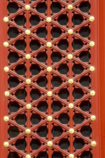 Close up of red-painted window : Stock Photo