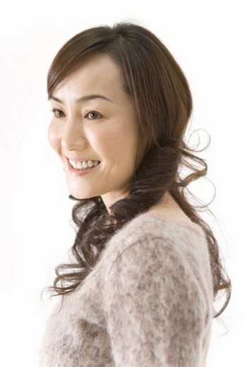 Stock Photo: 4029R-124066 A Mature Adult Woman Smiling, Side View, Portraint