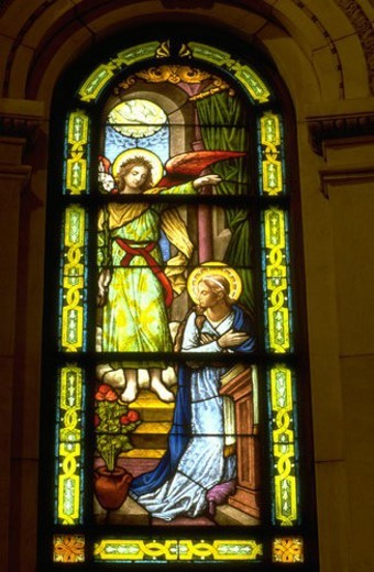 Stained glass window of The Annunciation in St. Pauls Cathedral : Stock Photo