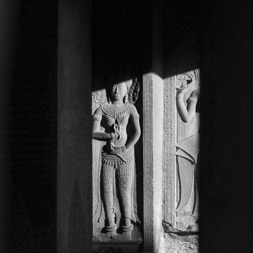 Stock Photo: 4029R-125530 Close up of  Walls of Khmer Kingdom palace ruins