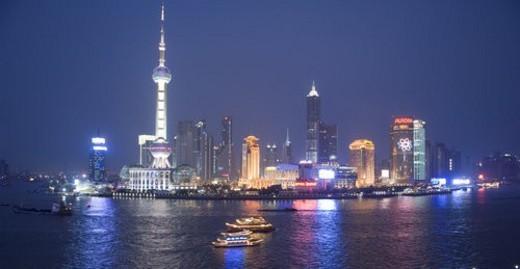 Night scene of Huangpu River and skyscrapers,Shanghai : Stock Photo