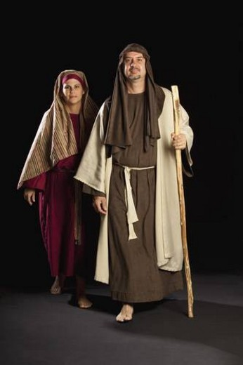 people depicting mary and joseph : Stock Photo