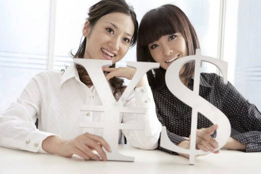 Young women holding RMB and dallor symbol : Stock Photo