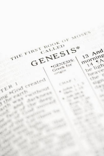 Selective focus of Genesis verses in open Holy Bible. : Stock Photo
