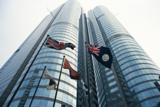 The stock exchange tower, Low Angle View, Hong Kong, China : Stock Photo