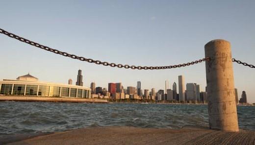 Chicago Skyline, Shedd Aquarium, Lake Michigan : Stock Photo