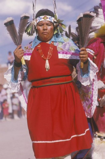 A Native American woman in traditional costume at the Corn Dance ceremony : Stock Photo