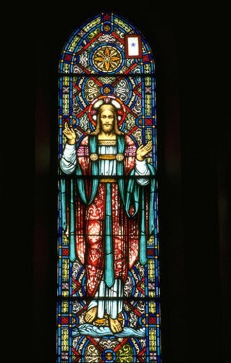 Jesus blessing on stained glass window : Stock Photo