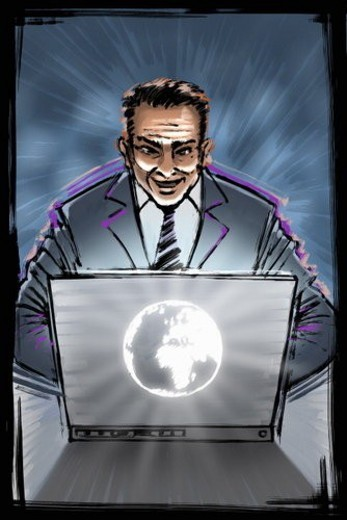 Business man on laptop emanating power : Stock Photo
