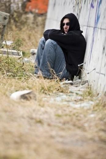 Man beside graffiti : Stock Photo