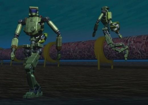 Two imaginary robots, Illustration, CG, Close Up : Stock Photo