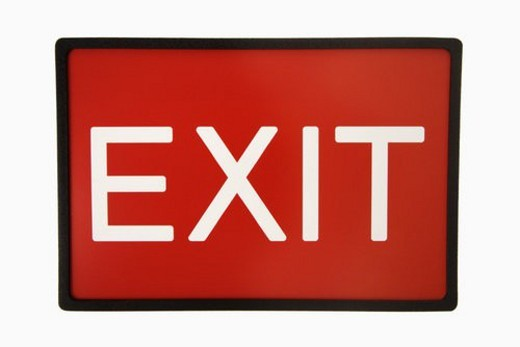 Stock Photo: 4029R-132876 Red exit sign against white background.